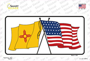 New Mexico Crossed US Flag Wholesale Novelty Sticker Decal