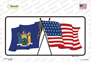 New York Crossed US Flag Wholesale Novelty Sticker Decal