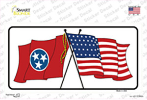 Tennessee Crossed US Flag Wholesale Novelty Sticker Decal