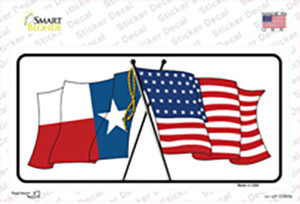 Texas Crossed US Flag Wholesale Novelty Sticker Decal