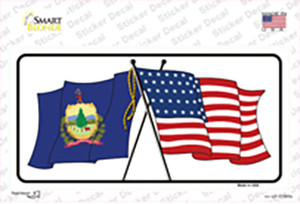 Vermont Crossed US Flag Wholesale Novelty Sticker Decal