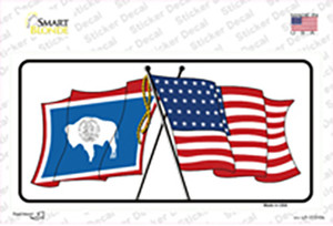 Wyoming Crossed US Flag Wholesale Novelty Sticker Decal
