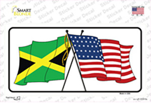 Jamaica Crossed US Flag Wholesale Novelty Sticker Decal