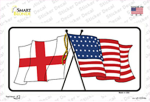 England Crossed US Flag Wholesale Novelty Sticker Decal