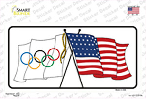 Olympic Crossed US Flag Wholesale Novelty Sticker Decal