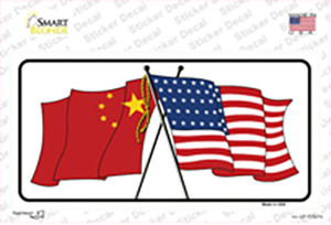 China Crossed US Flag Wholesale Novelty Sticker Decal