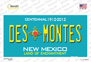 Des Montes Teal New Mexico Wholesale Novelty Sticker Decal