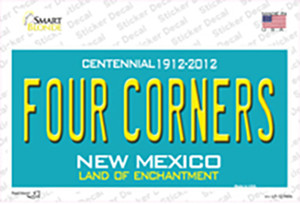 Four Corners Teal New Mexico Wholesale Novelty Sticker Decal