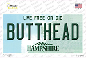 Butthead New Hampshire Wholesale Novelty Sticker Decal