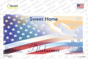 Alabama with American Flag Wholesale Novelty Sticker Decal