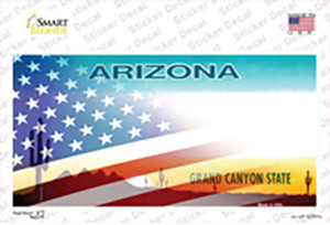 Arizona with American Flag Wholesale Novelty Sticker Decal
