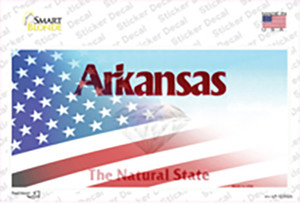 Arkansas with American Flag Wholesale Novelty Sticker Decal