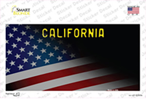California with American Flag Wholesale Novelty Sticker Decal