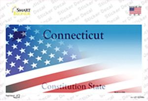 Connecticut with American Flag Wholesale Novelty Sticker Decal