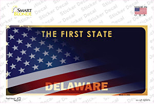 Delaware with American Flag Wholesale Novelty Sticker Decal