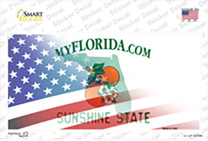 Florida with American Flag Wholesale Novelty Sticker Decal