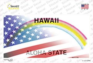 Hawaii with American Flag Wholesale Novelty Sticker Decal
