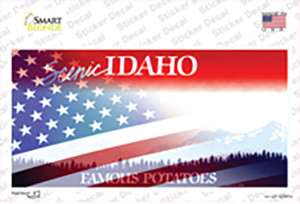 Idaho with American Flag Wholesale Novelty Sticker Decal