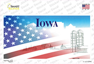 Iowa with American Flag Wholesale Novelty Sticker Decal