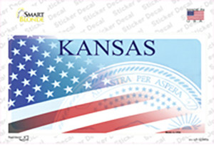 Kansas with American Flag Wholesale Novelty Sticker Decal