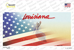 Louisiana with American Flag Wholesale Novelty Sticker Decal