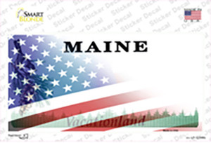 Maine with American Flag Wholesale Novelty Sticker Decal