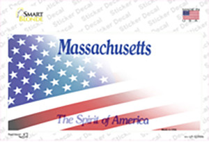 Massachusetts with American Flag Wholesale Novelty Sticker Decal