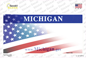 Michigan with American Flag Wholesale Novelty Sticker Decal