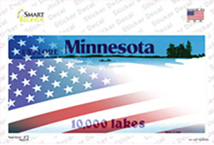Minnesota with American Flag Wholesale Novelty Sticker Decal
