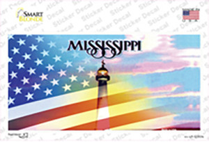 Mississippi with American Flag Wholesale Novelty Sticker Decal