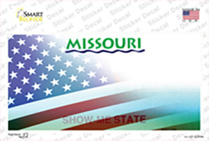 Missouri with American Flag Wholesale Novelty Sticker Decal