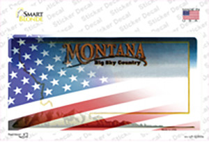 Montana with American Flag Wholesale Novelty Sticker Decal
