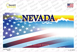 Nevada with American Flag Wholesale Novelty Sticker Decal