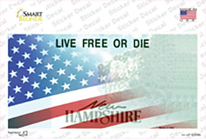 New Hampshire with American Flag Wholesale Novelty Sticker Decal