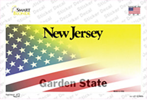 New Jersey with American Flag Wholesale Novelty Sticker Decal