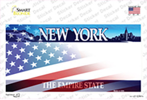 New York with American Flag Wholesale Novelty Sticker Decal