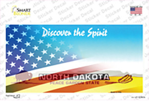 North Dakota with American Flag Wholesale Novelty Sticker Decal