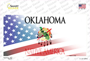 Oklahoma with American Flag Wholesale Novelty Sticker Decal