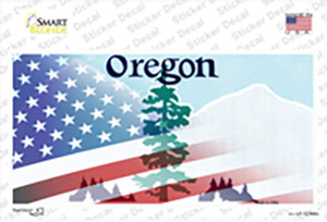 Oregon with American Flag Wholesale Novelty Sticker Decal
