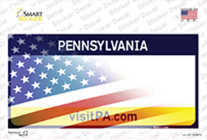 Pennsylvania with American Flag Wholesale Novelty Sticker Decal