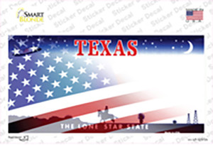 Texas with American Flag Wholesale Novelty Sticker Decal