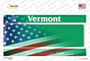 Vermont with American Flag Wholesale Novelty Sticker Decal