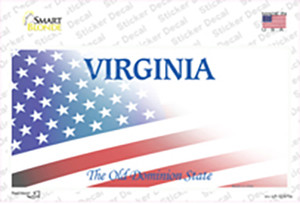 Virginia with American Flag Wholesale Novelty Sticker Decal