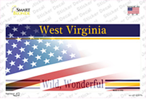 West Virginia with American Flag Wholesale Novelty Sticker Decal