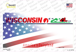 Wisconsin with American Flag Wholesale Novelty Sticker Decal