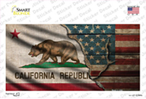 California/American Flag Wholesale Novelty Sticker Decal