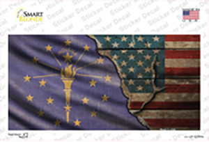 Indiana/American Flag Wholesale Novelty Sticker Decal