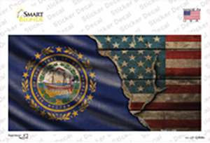New Hampshire/American Flag Wholesale Novelty Sticker Decal