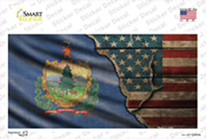 Vermont/American Flag Wholesale Novelty Sticker Decal