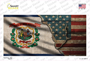 West Virginia/American Flag Wholesale Novelty Sticker Decal